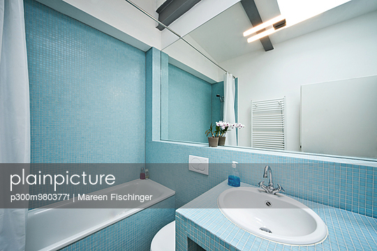 Germany, Bathroom with mosaic tile