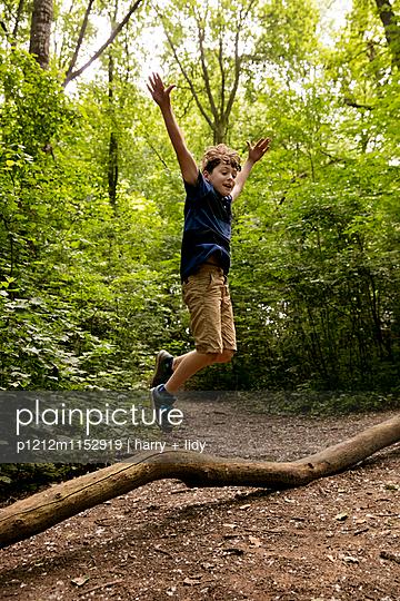 Junge springt von einem Baumstamm im Wald - p1212m1152919 von harry + lidy