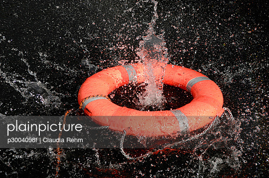 Life preserver floating on water, close-up