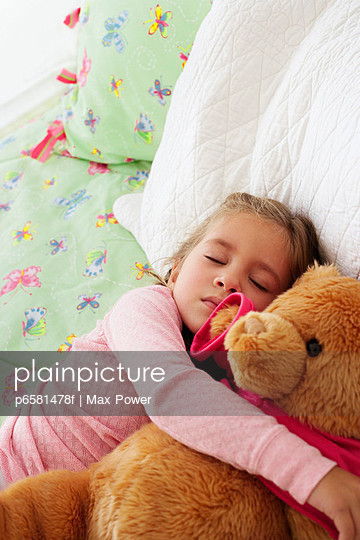 Girl Sleeping with Teddy Bear