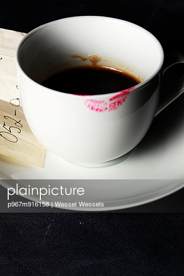 Lipstick Stained Coffee Cup with Note