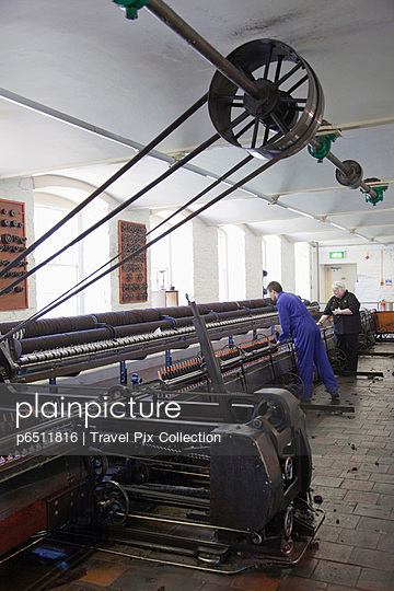 Scotland, New Lanark, Spinning Mule Machine | Stock Images