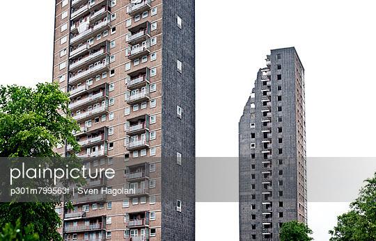 High rise council flats mid-way through demolition in Scotland, Glasgow