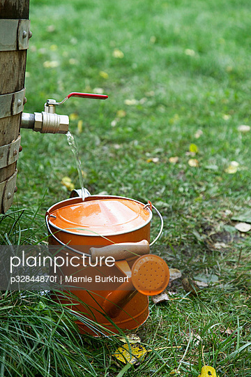 Filling watering can with collected rain water