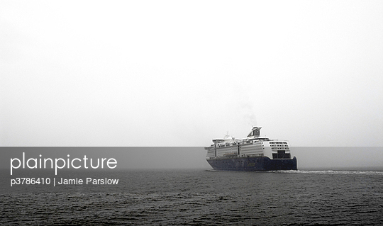 Cruise ship in fog