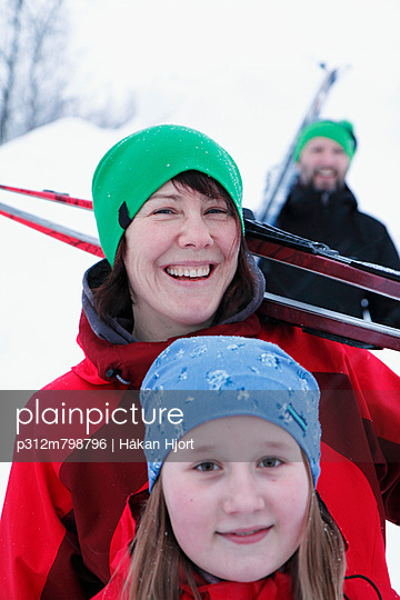 Happy family at ski holidays