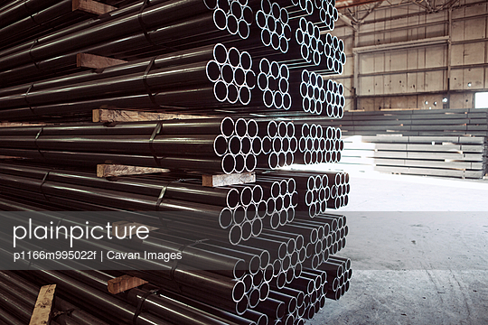 USA, Alabama, Stack of steel pipes