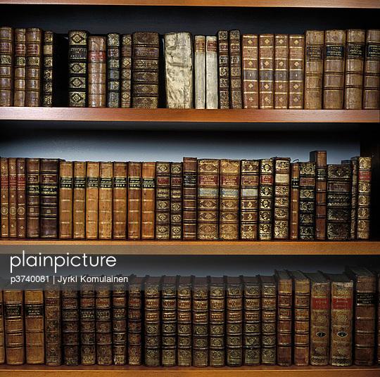 Close-up of books on a shelf