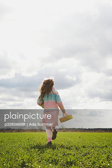 Girl on an Easter egg hunt