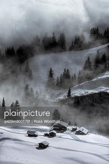 Misty scene; Murren; Bernese Oberland; Switzerland