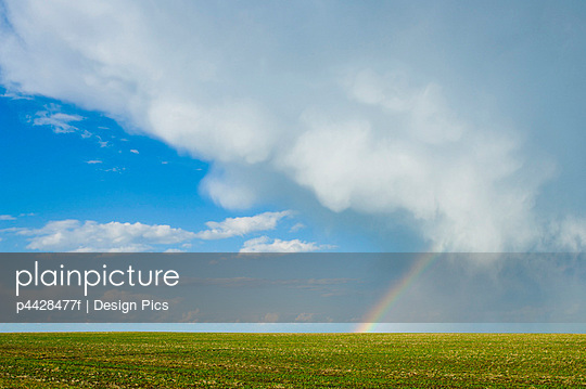 Storm cloud and rainbow over crop