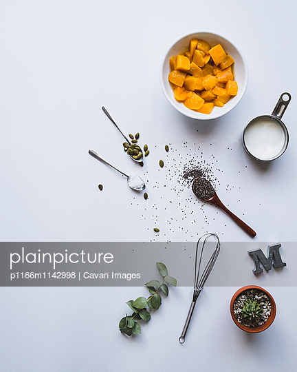 Directly above shot of ingredients over white background