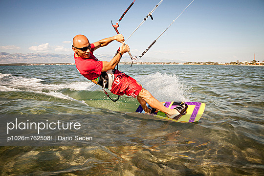 Croatia, Man kite surfing at high speed