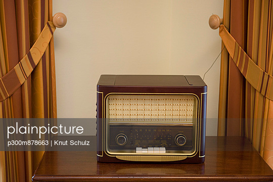 Old fashioned radio in retirement house