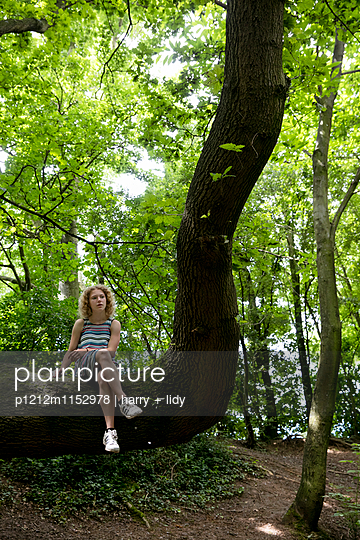 Mädchen sitzt auf einem Baumstamm - p1212m1152978 von harry + lidy