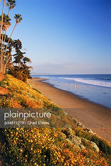 People strolling along sandy shores at Santa Barbara near sunset in California