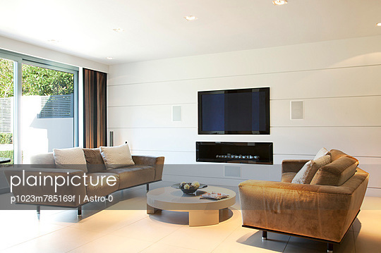 Sofas and television in modern living room