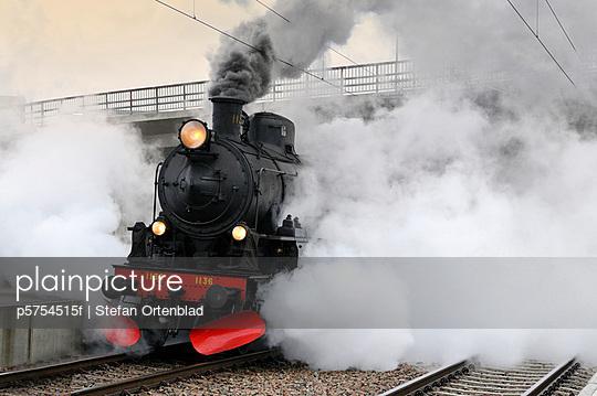 A steam engine in motion, Sweden.