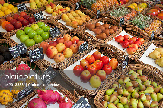 Various fruits presented on a market