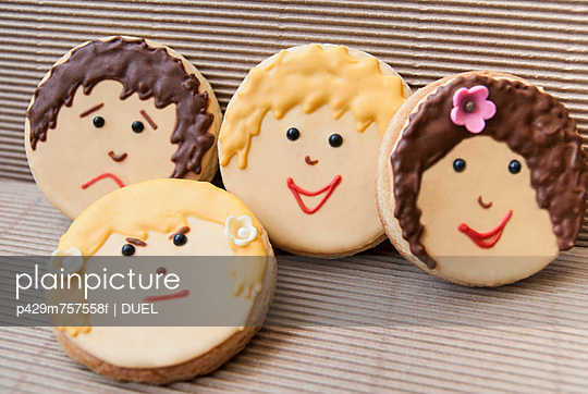 Cookies decorated with faces