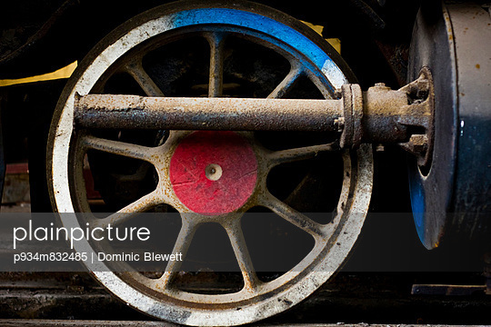 Detail of an old steam engine in process of being restored at a workshop in the Railway Worker\'s Khu Tap The, Hanoi, Vietnam, Asia