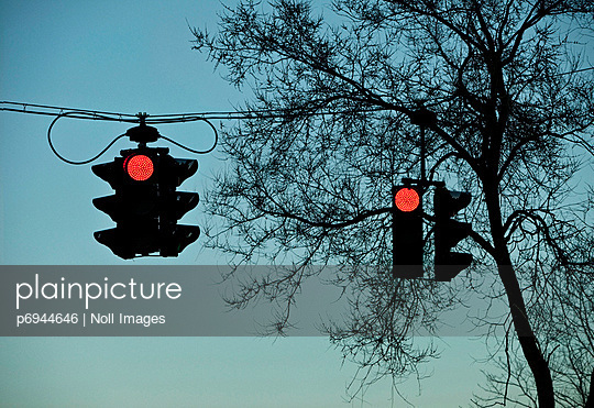 Two Red Traffic Lights Against Tree Silhouette