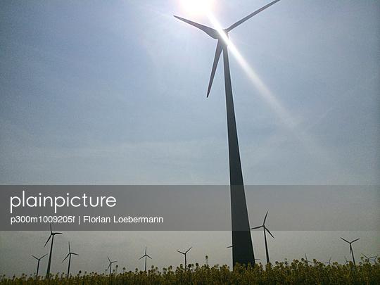 Wind turbine on a field in Brandenburg, Germany