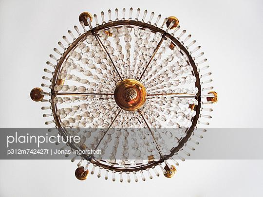 A cut-glass chandelier from below, Sweden.