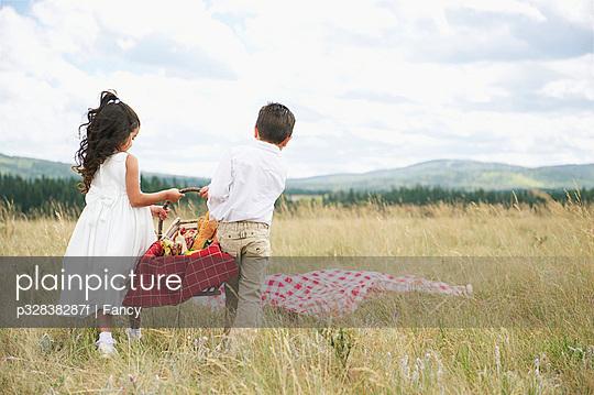 Children Carrying Picnic Basket