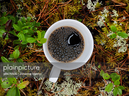 a cup of black coffee in white cup, set in the moss in the woods