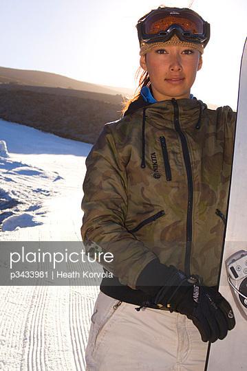 Portrait of Asian-Canadian snowboarder Kimiko Zakreski on Mt Hood
