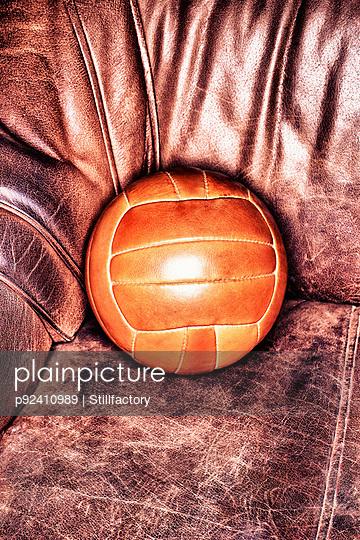 Soccer ball on armchair