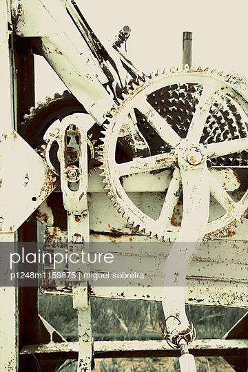 Zahnrad an einer alten Landmaschine - p1248m1159875 von miguel sobreira