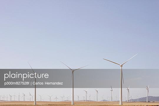 View of wind turbine on field