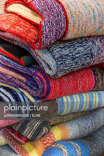Pile of woollen blankets