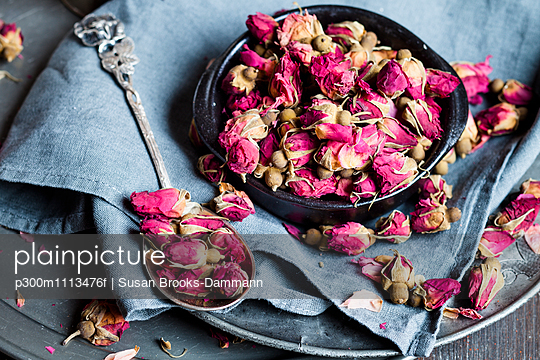 Bowl of dried rose blossoms