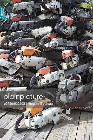 Pile of chain saws