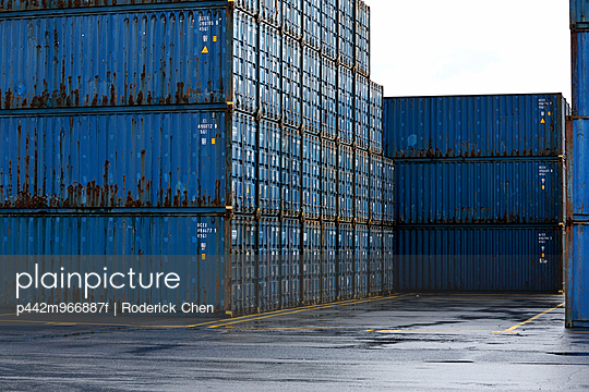 Shipping containers at Bickerdike Port in Old Montreal; Montreal, Quebec, Canada