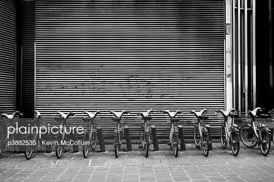 Row of bicycles in stand