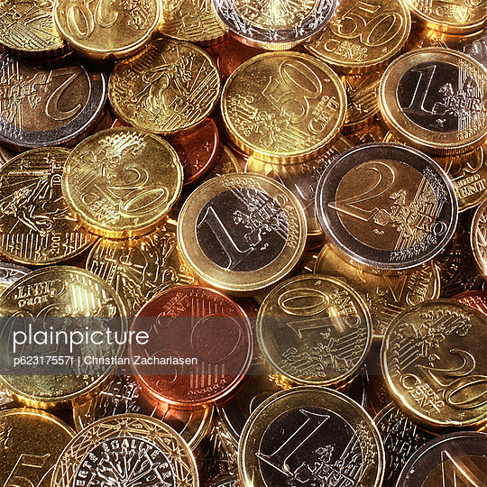 Assorted euro coins.