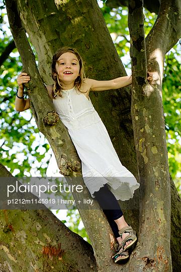 Mädchen klettert auf einen dicken Baum - p1212m1145919 von harry + lidy