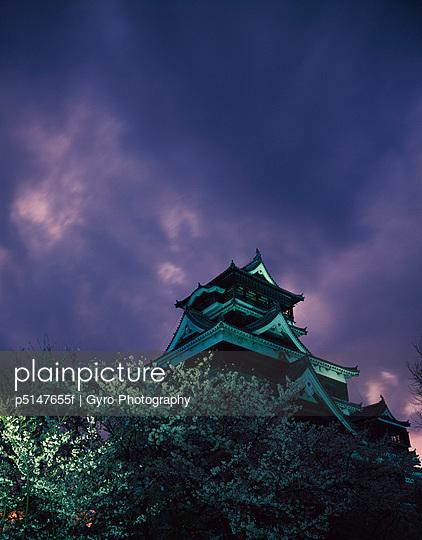 Kumamoto Castle in the night, Kumamoto city, Kumamoto prefecture, Japan