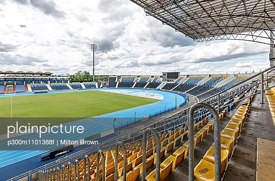 Sports stadium with empty grandstand