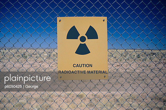 Sign warning of radiation risk, Nevada Test Site, USA