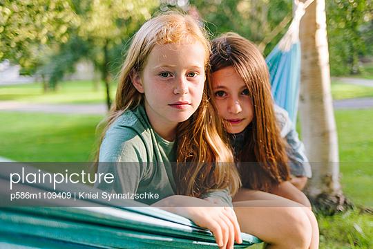 Portrait of two girls in the hammock