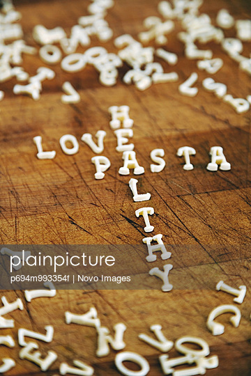 Love, Pasta & Health Spelled with Alphabet Noodles
