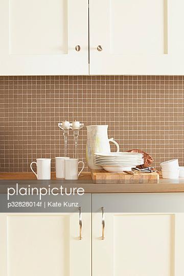 Fine china on kitchen counter