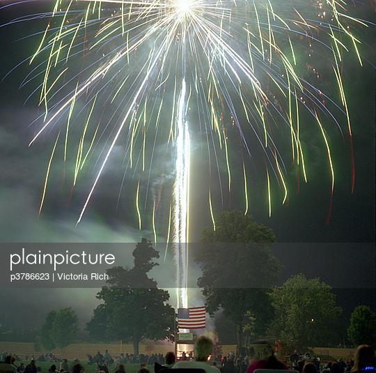 Fireworks blue, green sparks