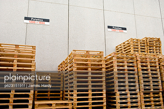 Wood pallets stored at industrial plant