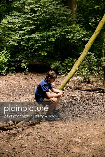 Junge sitzt auf einem Baumstamm im Wald - p1212m1152917 von harry + lidy